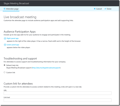 Skype for Business Broadcast Meetings –Scheduling Portal