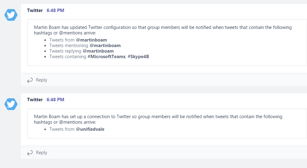 Microsoft Teams–Add Twitter Connectors to Channels – Martin Boam's