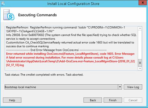 Skype for Business Edge Server Deployment–Error returned while