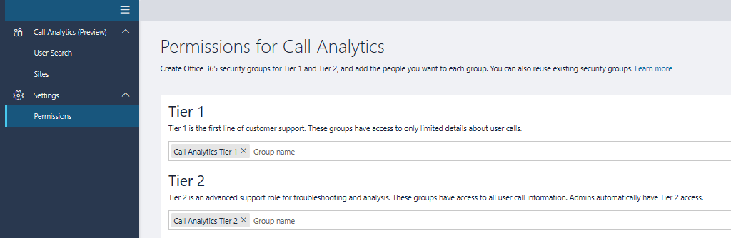 SfBO Call Analytics Tier 1 and 2 permisson updates ready for