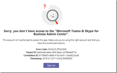 microsoft teams & skype for business admin center permissions